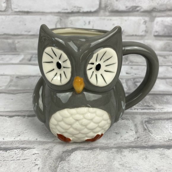 Threshold Owl Mug Gray White 3D Textured Target